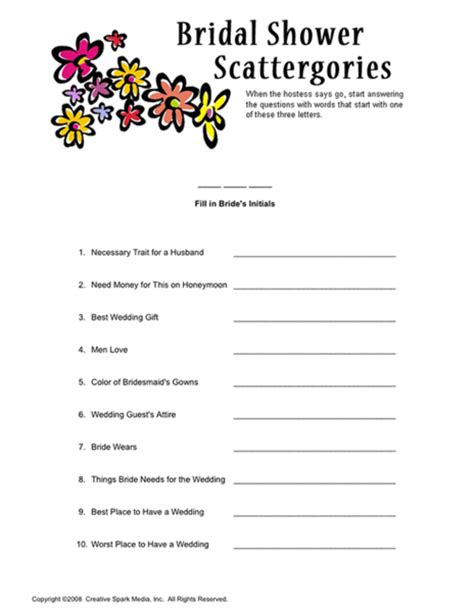 6 best images of bridal scattergories sheets printable