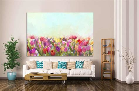 painting yellow pink and tulips flowers 1346 ready to hang c zellart