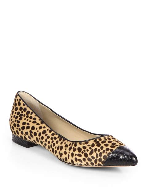 cheetah print shoes flats michael kors janae leopardprint calf hair ballet flats in
