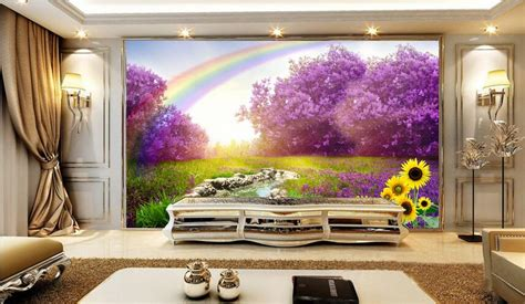 rainbow wallpaper for room 3d room wallpaper custom mural non woven picture wall sticker 3 d seven rainbow lavender
