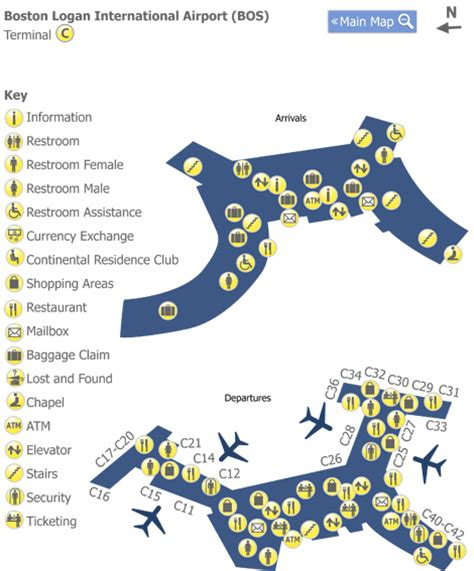 boston logan airport map boston logan airport bos terminal c map map of terminal c at boston logan airport