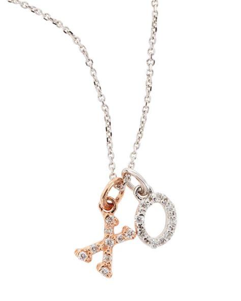 kc designs 14k white gold xo necklace