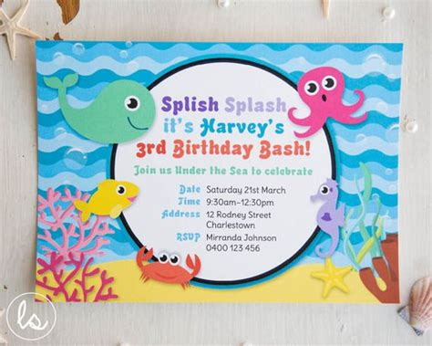 printable under the sea birthday invitations diy printable under the sea birthday invitation