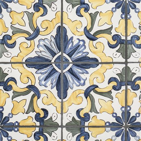 yellow patterned tiles bathroom 5 quot x 5 quot terra cotta lisbon 4 piece pattern blue yellow