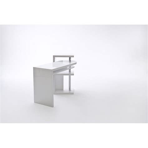 Mattis White Lacquered Swivel Computer Desk Office Swivel Computer Desk