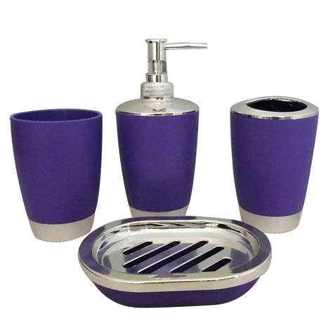 purple bathroom accessories sets 4 piece bathroom accessory set purple dk st012