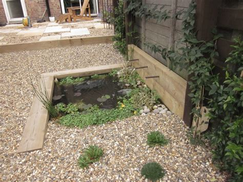 Using Railway Sleepers As Garden Edging by Pond With Railway Sleeper Edging Etc