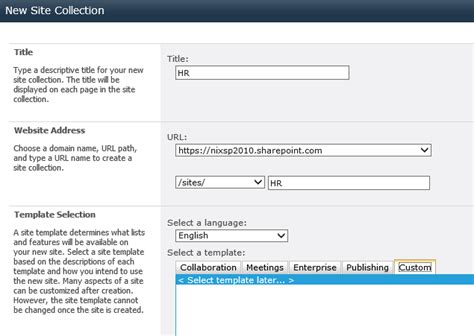 site collection template step by step provisioning new site collection based on
