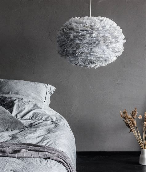 grey and white l shades large grey feather light shade vita eos hnadcrafted