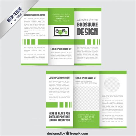 tri fold powerpoint template green trifold template vector free