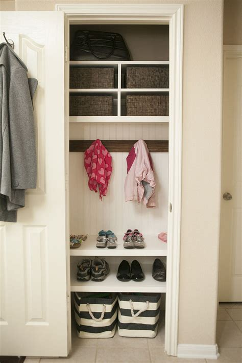 entry closet ideas hometalk organizing coat closet mini mudroom