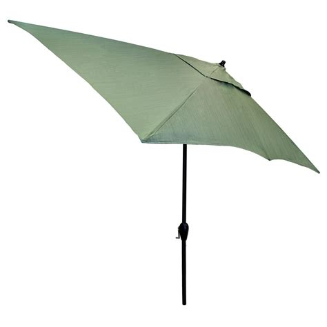 10 Foot Patio Umbrella Hton Bay 10 Ft X 6 Ft Aluminum Patio Umbrella In Peacock Java With Push Button Tilt 9106