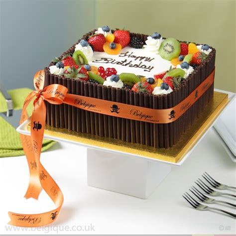 Fruit Cake Decoration by Belgique Square Eggless Fresh Fruit Gateau