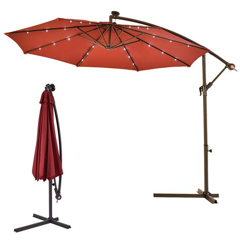 Sun Umbrella Patio 10 Hanging Solar Led Umbrella Patio Sun Shade Offset Market W Base Burgundy Ebay
