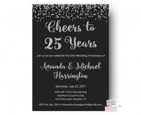 25th wedding anniversary invitation sles 25th anniversary invitations printable 25th wedding