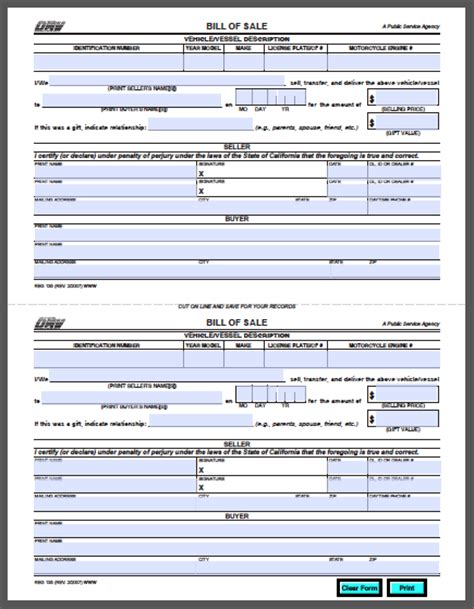 California Vehicle Bill Of Sale Form Free Fillable Pdf Forms Free Fillable Pdf Forms Vehicle Bill Of Sale Template Fillable Pdf