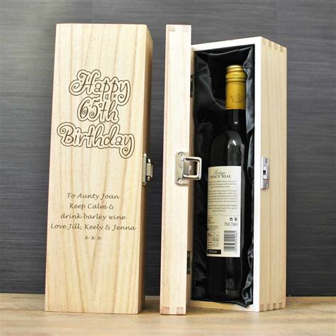 personalised wooden wine box birthday gift