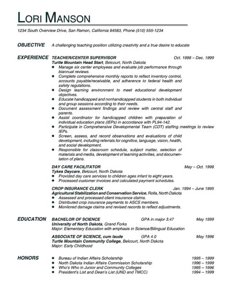 Resume Sles Of Teachers Resumes Objective For Quotes Quotesgram