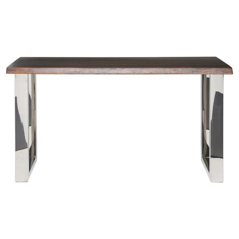 Zinnia Industrial Loft Brown Oak Stainless Steel Console Stainless Steel Sofa Table