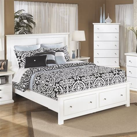 ashley furniture white bed ashley bostwick shoals wood queen storage panel bed in