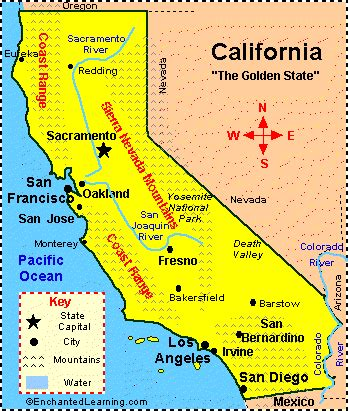 map of california usa with cities california map