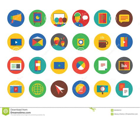 design icon online webinar online education flat icons vector set vector