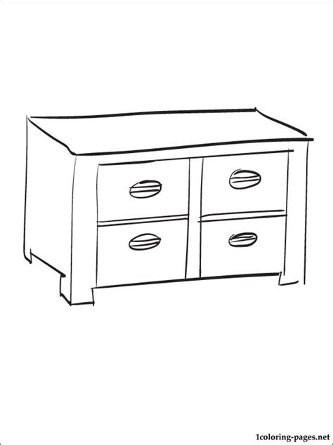 coloring page of a dresser cabinet coloring page coloring pages