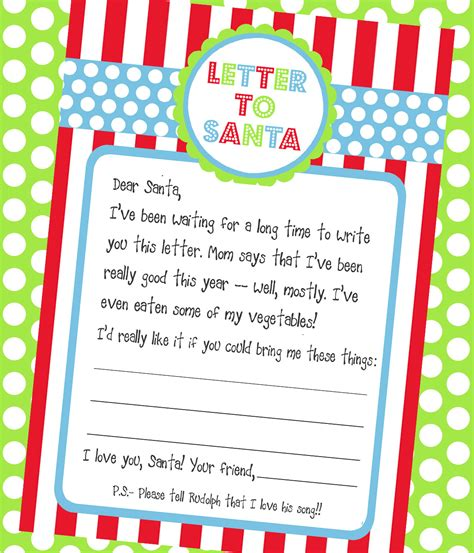Amanda S Parties To Go Letter To Santa Freebie Letter To Santa Template
