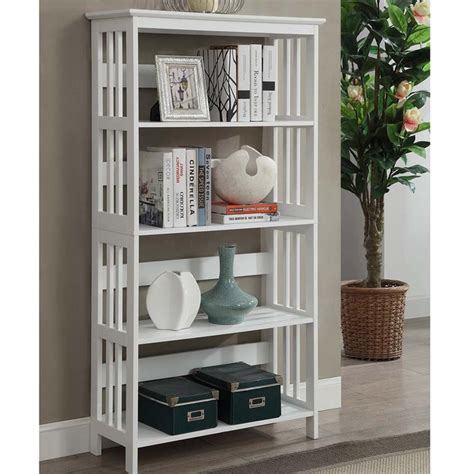 4 shelf bookcase white 4 shelf bookcase in white 203350w