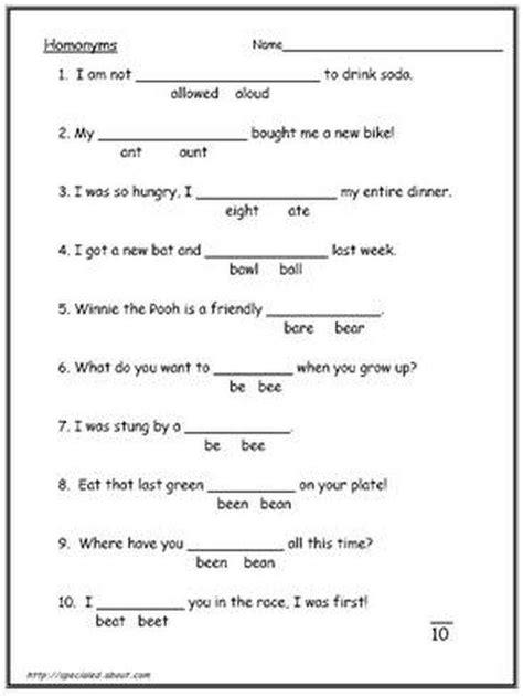 Homophones Worksheet 2nd Grade