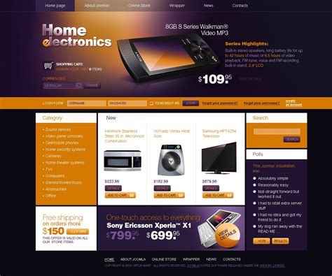 virtuemart template free electronics store virtuemart template 27330