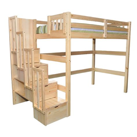 full size bunk beds with stairs aria staircase full loft bed kids youth loft beds with