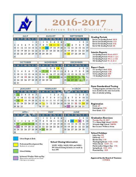 School District Calendar 2016 2015 2016 School Calendar School District 5