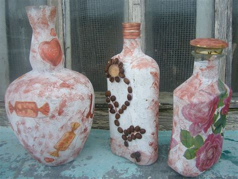 Decoupage Ideas Pink Rosebud Glass Bottle Diy Crafts