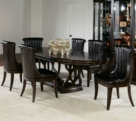 oval dining room sets american drew bob mackie 7 oval dining room set in brown contemporary dining sets