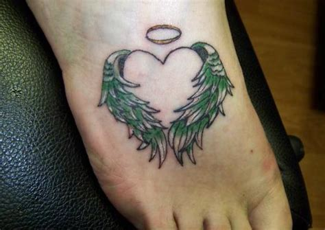 tattoo with angel wings and heart foot tattoos aelida