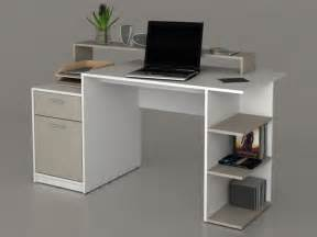 bureau zacharie 1 tiroir 1 porte blanc taupe