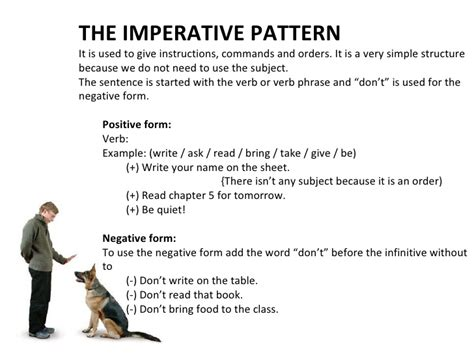 the pattern of imperative sentences place prepositions and imperatives