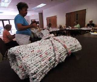 Sleeping Mats Made From Plastic Bags by Transforming Plastic Bags Into Sleeping Mats For The