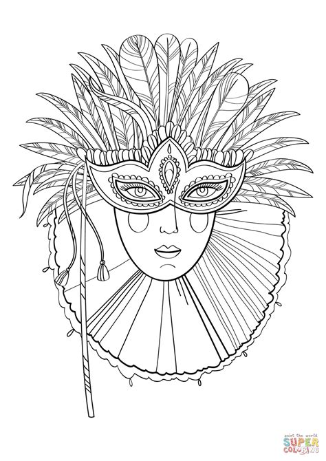 beautiful lady in carnival mask coloring page free