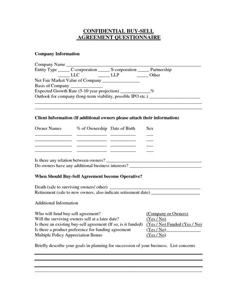 simple buy sell agreement  printable documents