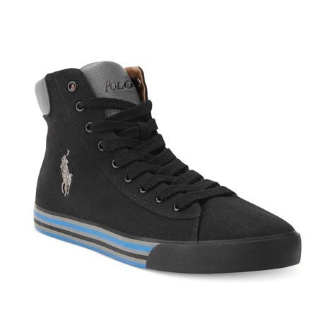 black polo sneakers polo ralph harvey mid top sneakers in black for