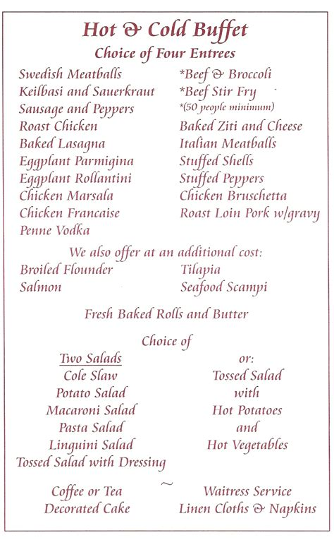 buffet menu catering buffet menu ideas pictures to pin on pinsdaddy