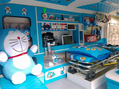 Atasan Bkk Doraemon Smile photos rescuer decks out ambulance with doraemon to soothe injured passengers coconuts bangkok