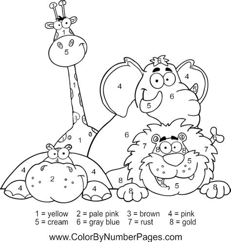 color by number animal coloring pages zoo animals color by number pages