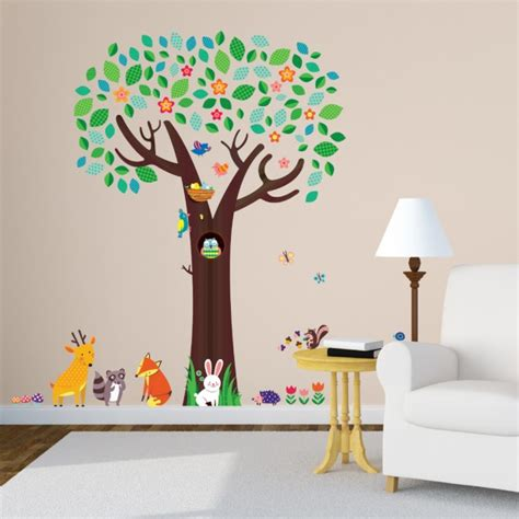 large animal wall stickers large tree and animal friends wall stickers
