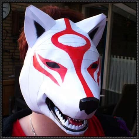 Papercraft Wolf Mask - okami size amaterasu mask papercraft free template
