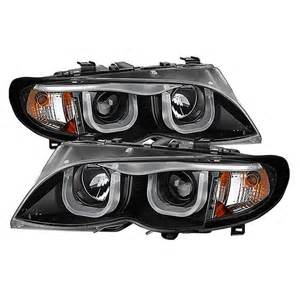 Bmw 325i Headlights Spyder Black Projector Led 3dhalo Headlights For 2002 2005
