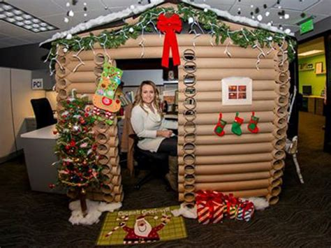 cube decorations festive office workers turn their cubicles into winter