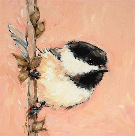 watercolor tutorial chickadee chickadee painting 6x6 original oil painting on panel by